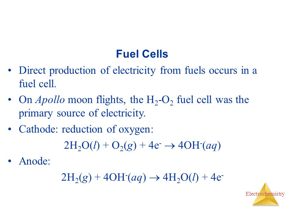 Direct production of electricity from fuels occurs in a fuel cell.