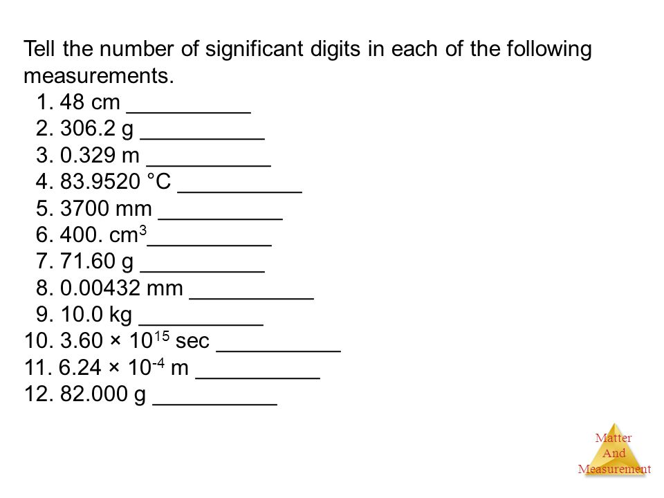 Tell the number of significant digits in each of the following measurements.