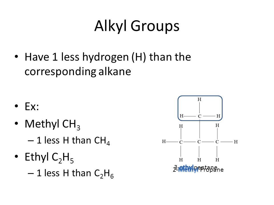 Alkyl Groups Have 1 less hydrogen (H) than the corresponding alkane