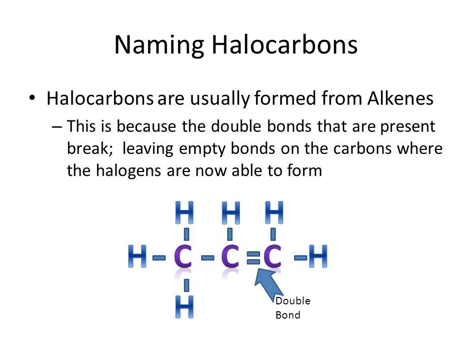H H H H C C C H H Naming Halocarbons