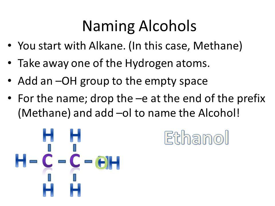 H H Ethanol H C C H O H H H Naming Alcohols