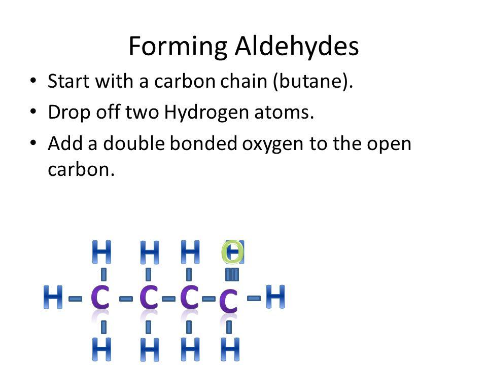 H H H O H H C C C H C H H H H Forming Aldehydes