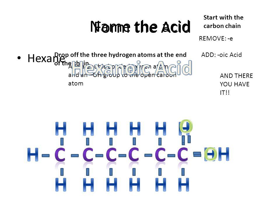 Hexan oic Acid e O H H H H H H H C C C C C C H H O H H H H H H