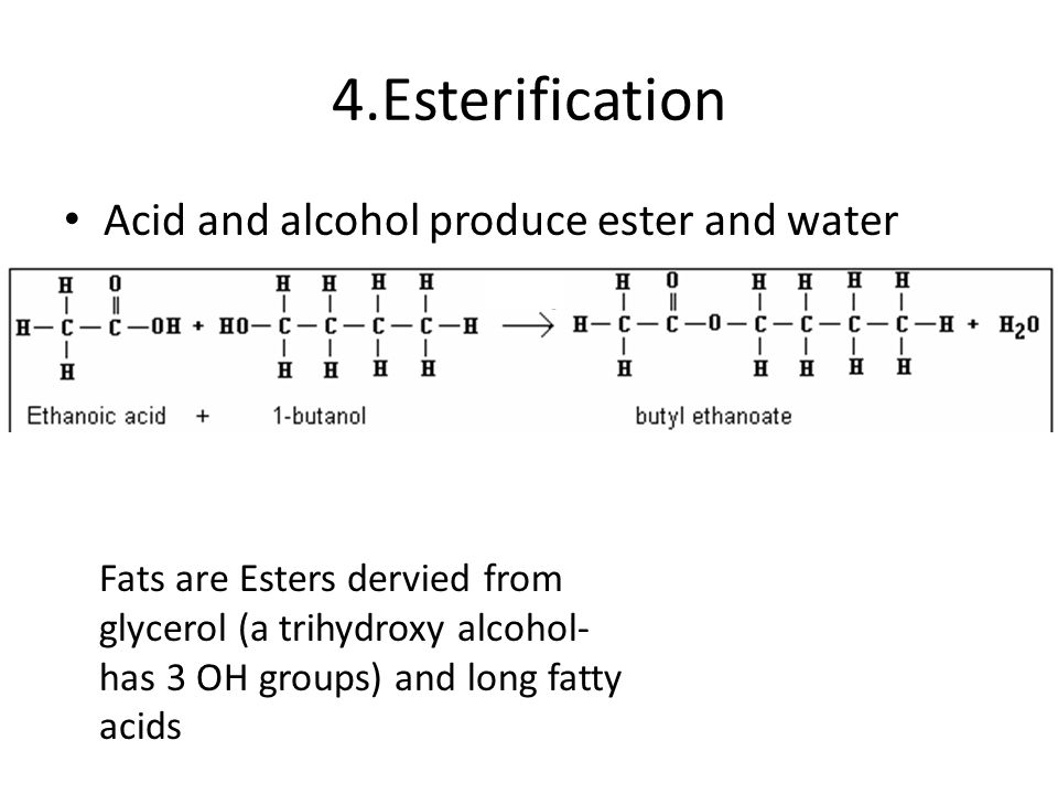 4.Esterification Acid and alcohol produce ester and water