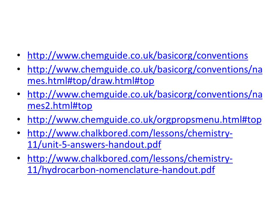 http://www.chemguide.co.uk/basicorg/conventions http://www.chemguide.co.uk/basicorg/conventions/names.html#top/draw.html#top.