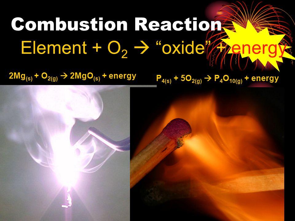 Element + O2  oxide + energy