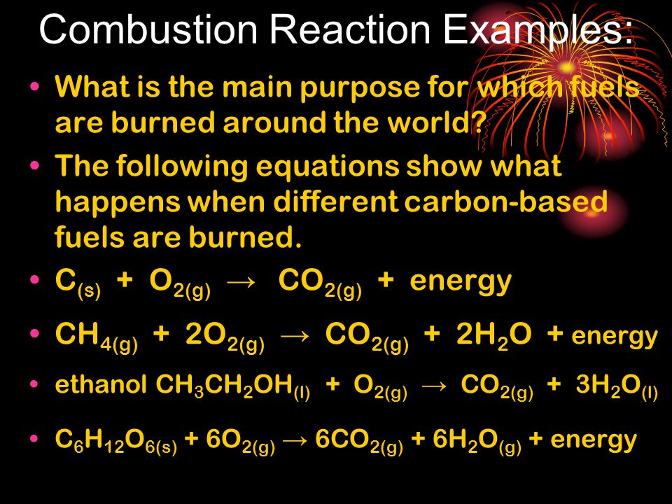 Combustion Reaction Examples: