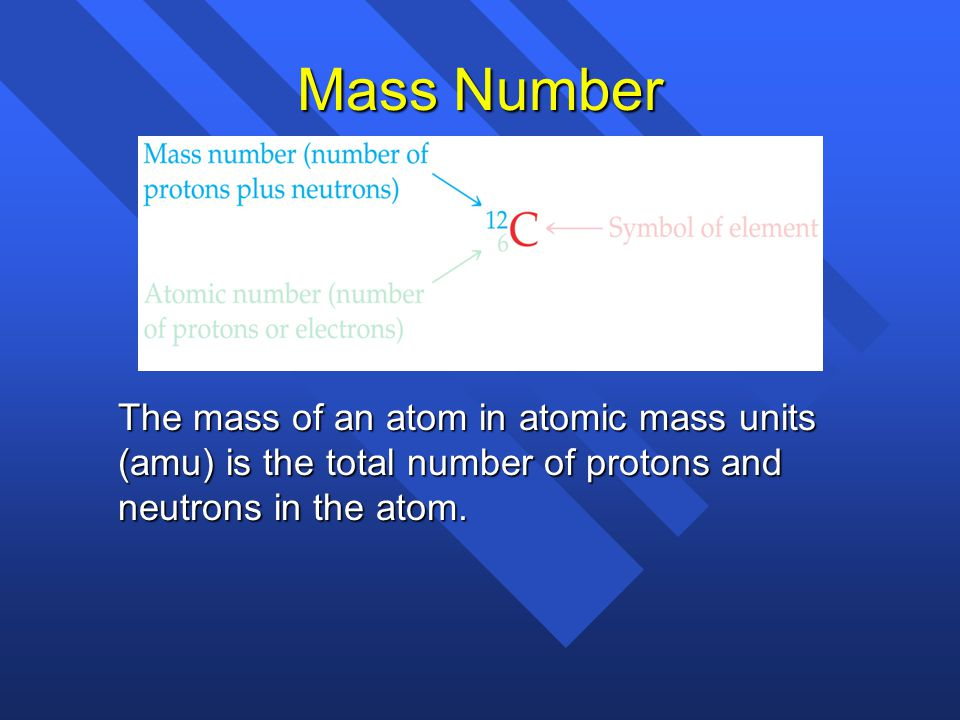 Mass Number The mass of an atom in atomic mass units (amu) is the total number of protons and neutrons in the atom.