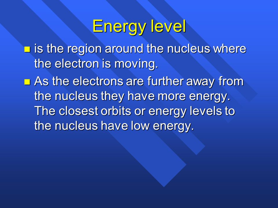 Energy level is the region around the nucleus where the electron is moving.
