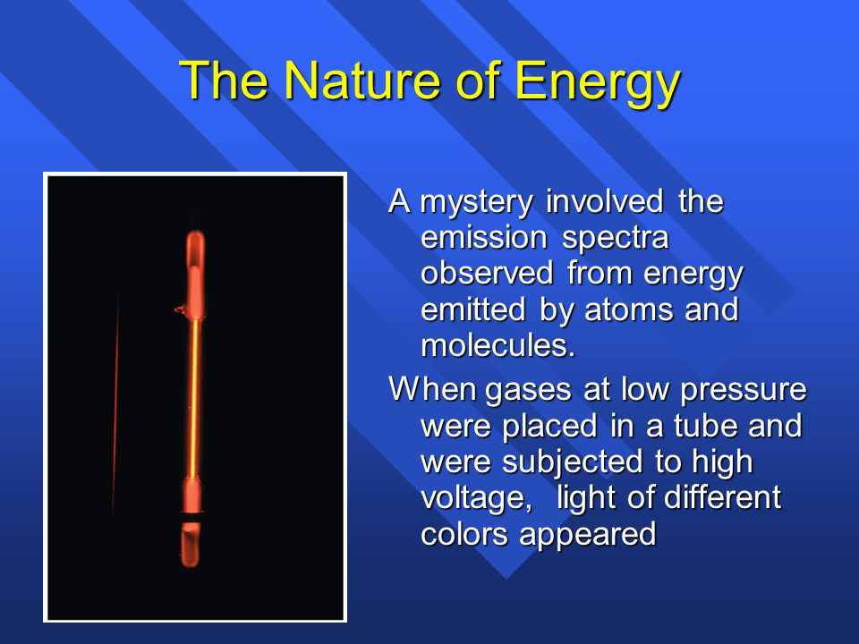 The Nature of Energy A mystery involved the emission spectra observed from energy emitted by atoms and molecules.