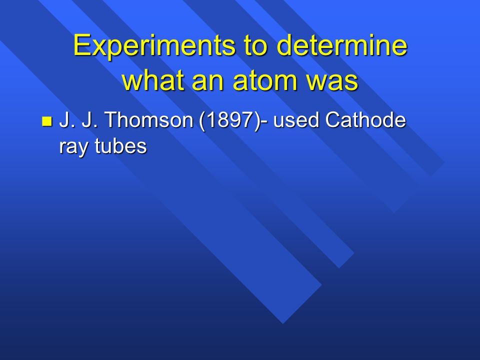 Experiments to determine what an atom was