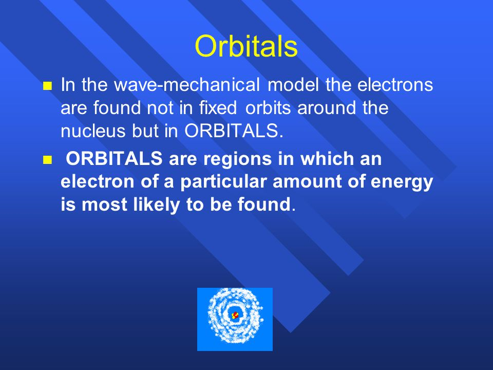Orbitals In the wave-mechanical model the electrons are found not in fixed orbits around the nucleus but in ORBITALS.