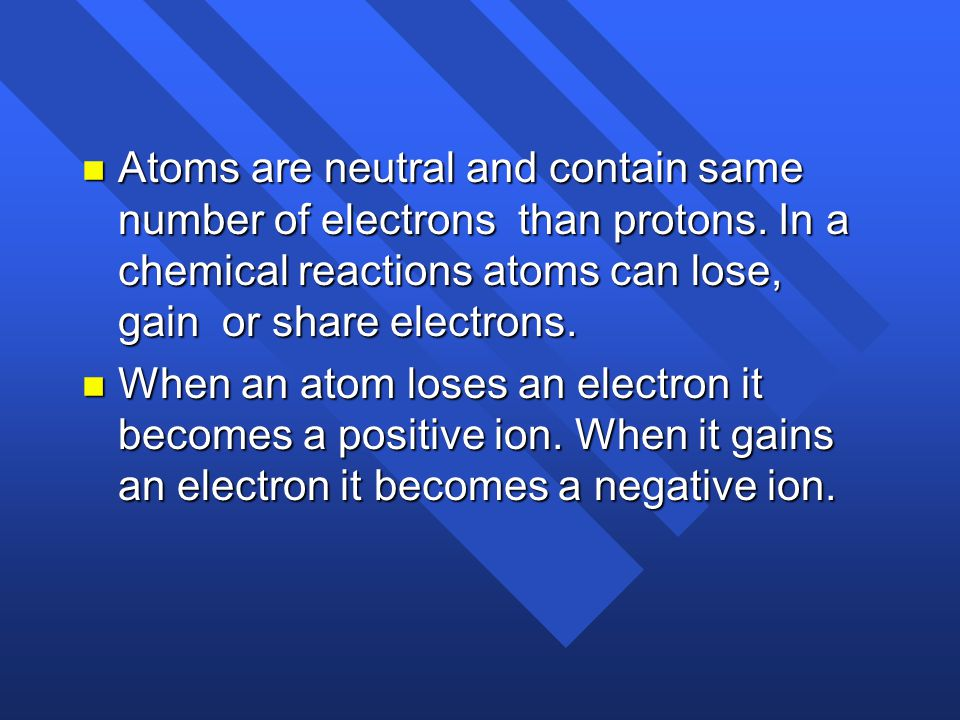 Atoms are neutral and contain same number of electrons than protons