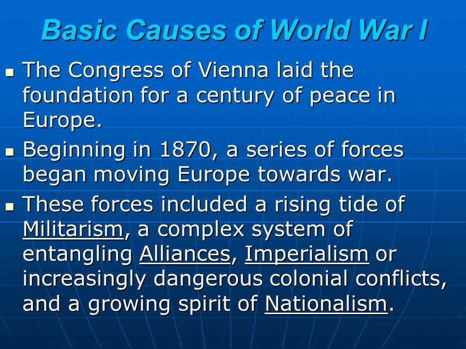 Basic Causes of World War I