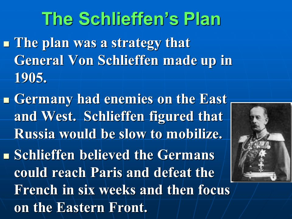 The Schlieffen's Plan The plan was a strategy that General Von Schlieffen made up in 1905.