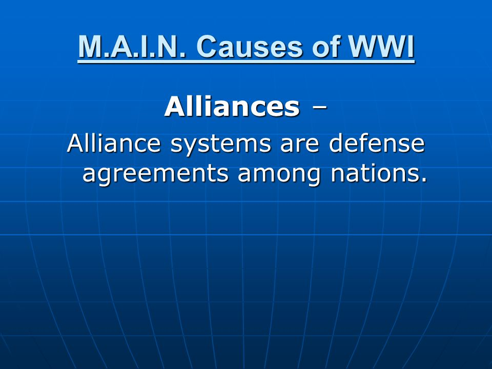 Alliance systems are defense agreements among nations.