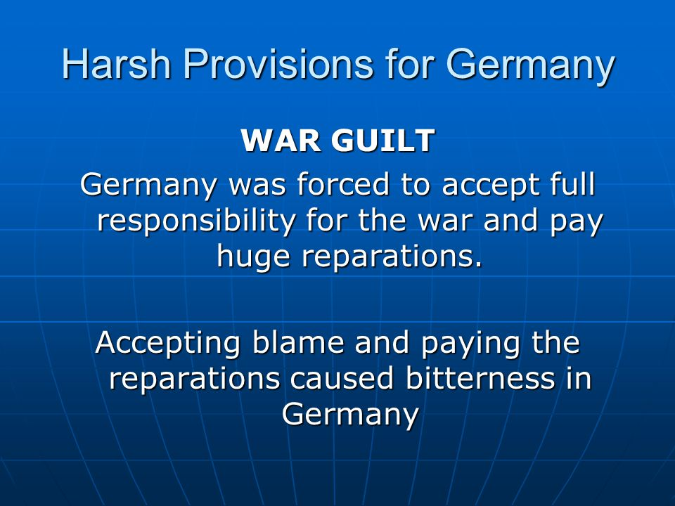 Harsh Provisions for Germany