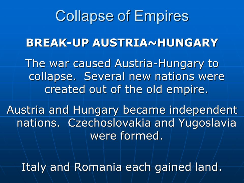 BREAK-UP AUSTRIA~HUNGARY