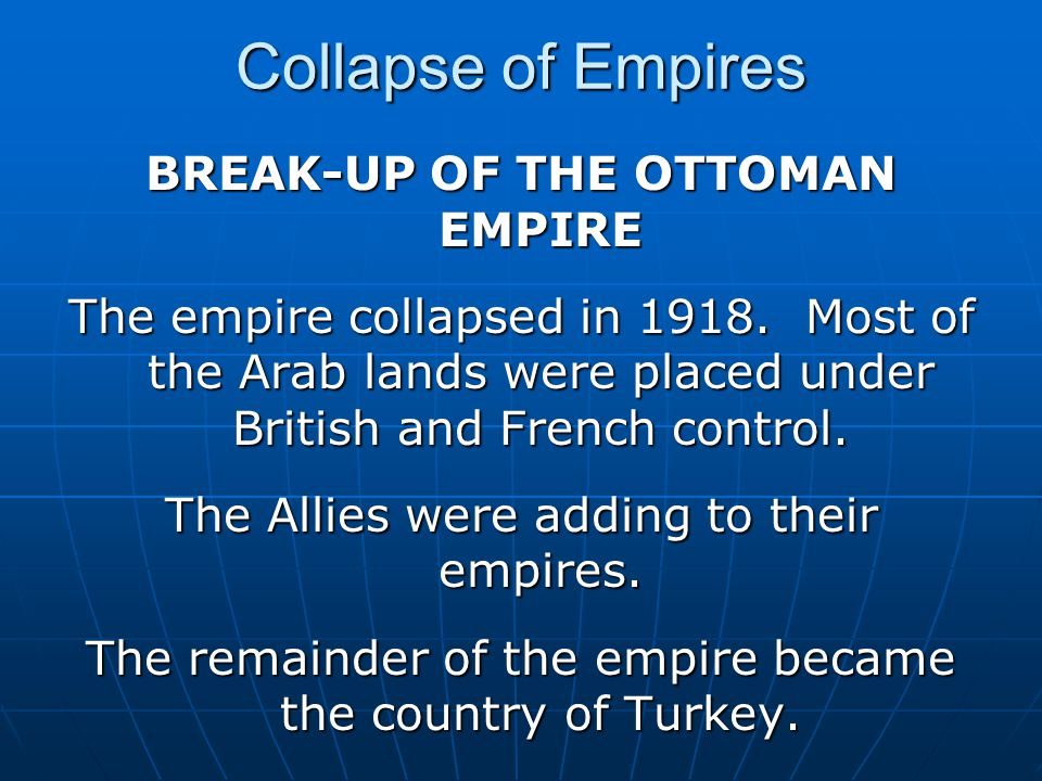 BREAK-UP OF THE OTTOMAN EMPIRE