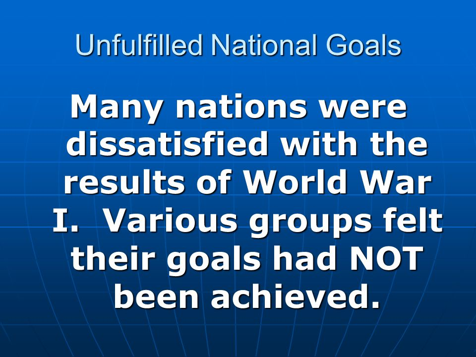 Unfulfilled National Goals