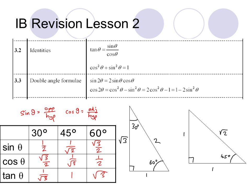 IB Revision Lesson 2 30° 45° 60° sin θ cos θ tan θ