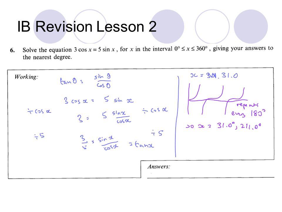 IB Revision Lesson 2