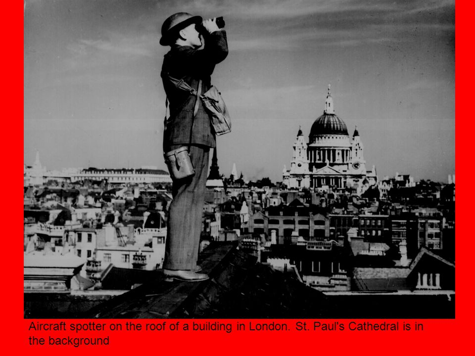 Aircraft spotter on the roof of a building in London. St