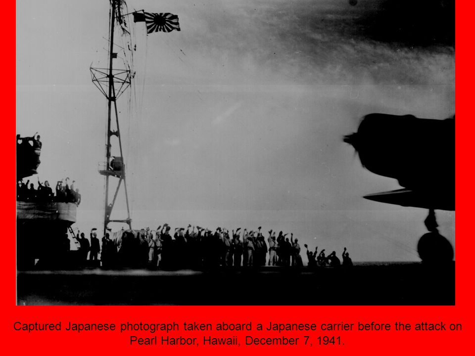 Captured Japanese photograph taken aboard a Japanese carrier before the attack on Pearl Harbor, Hawaii, December 7, 1941.