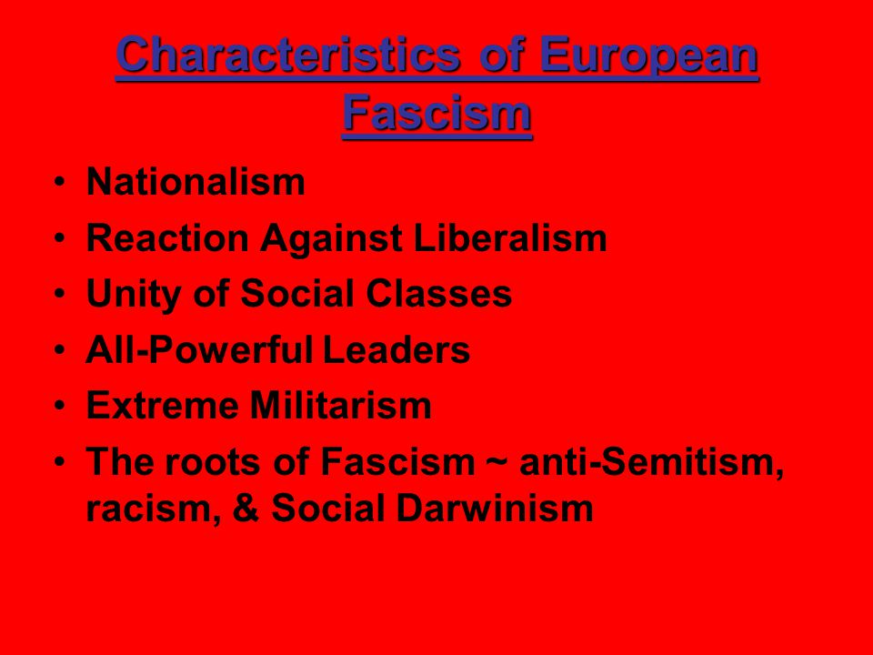 Characteristics of European Fascism