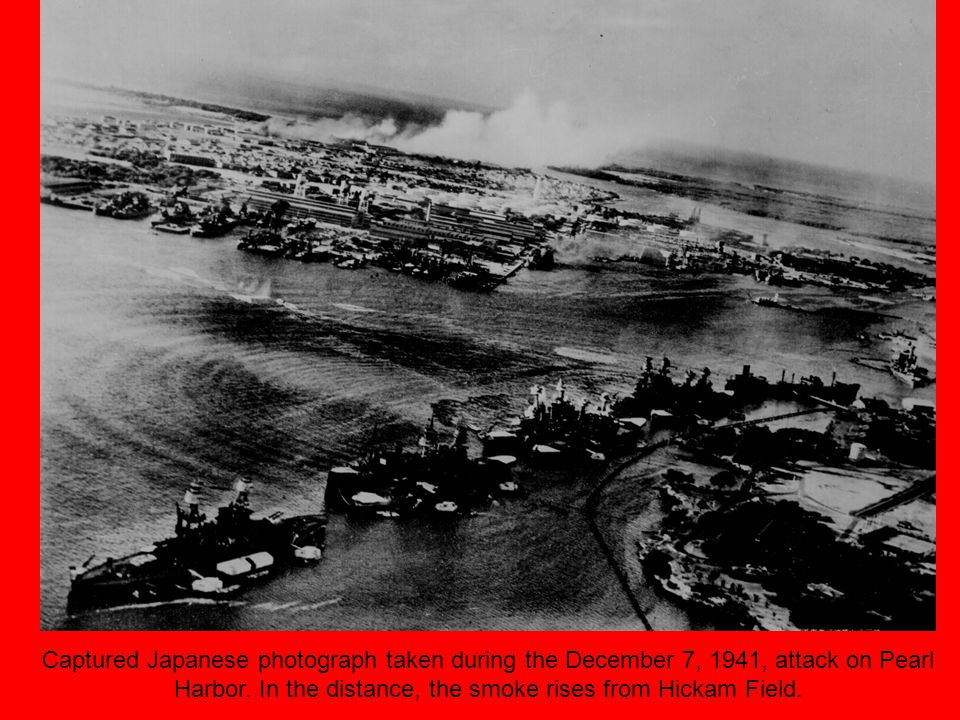 Captured Japanese photograph taken during the December 7, 1941, attack on Pearl Harbor.