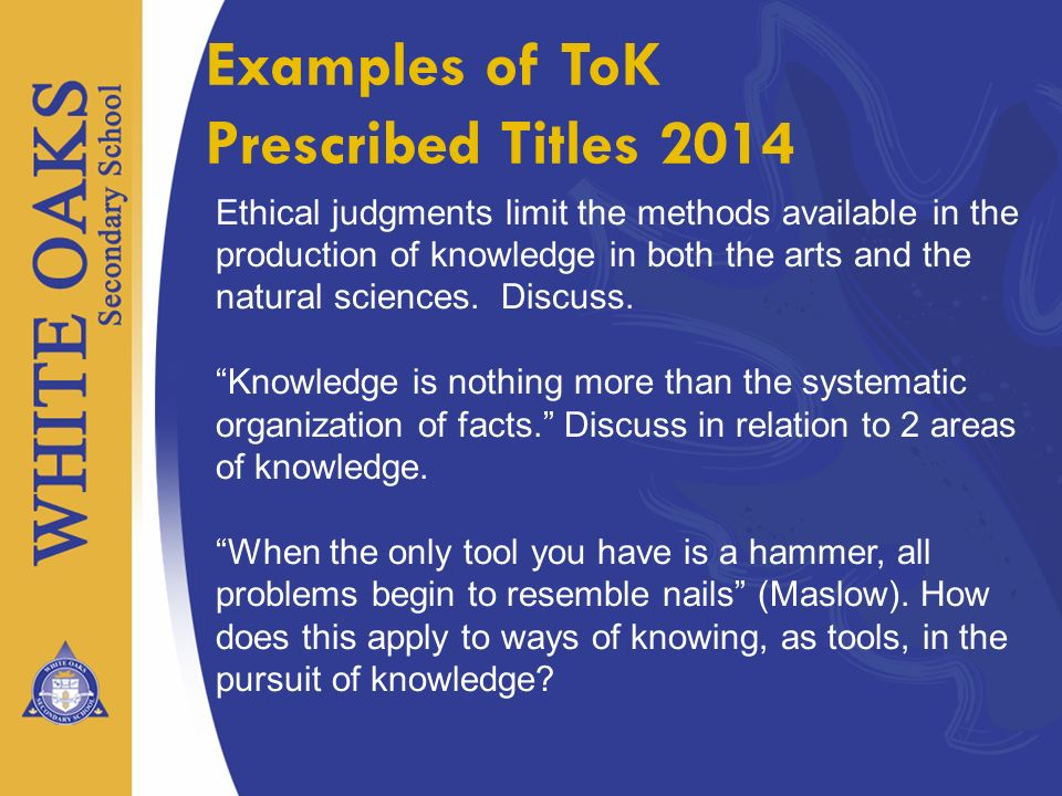 Examples of ToK Prescribed Titles 2014