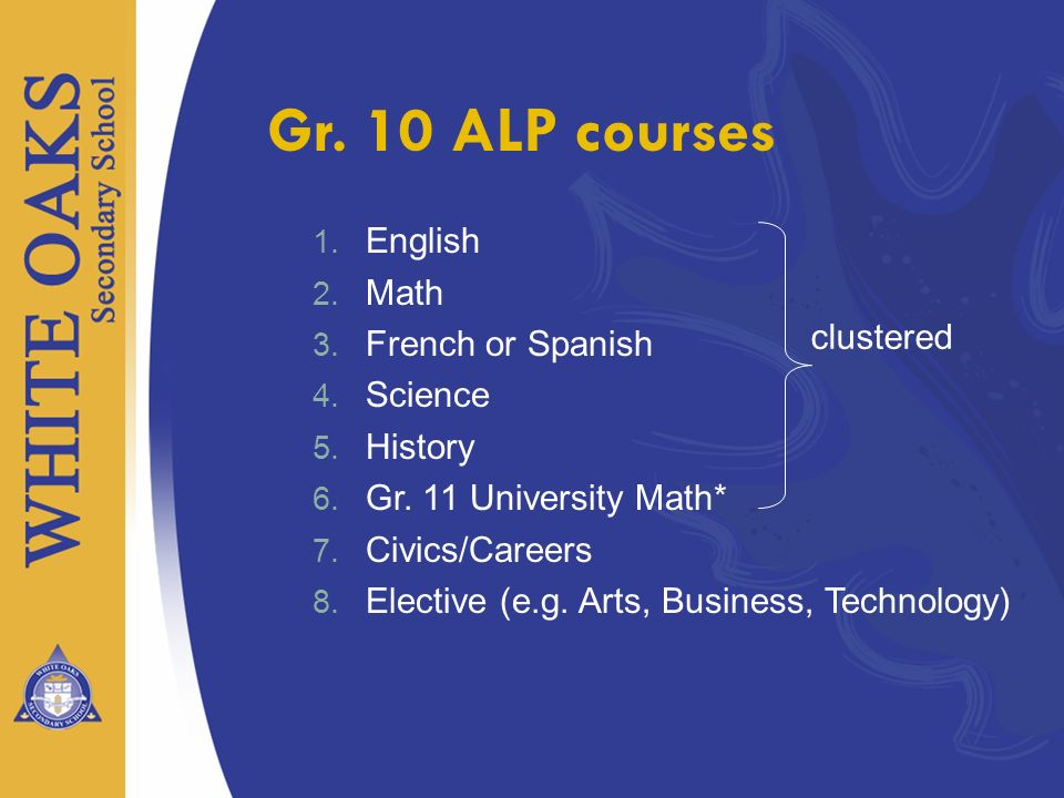 Gr. 10 ALP courses English Math French or Spanish Science History