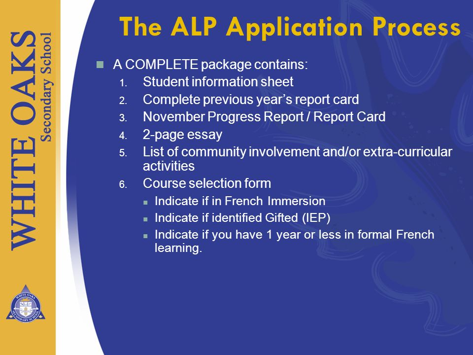 The ALP Application Process