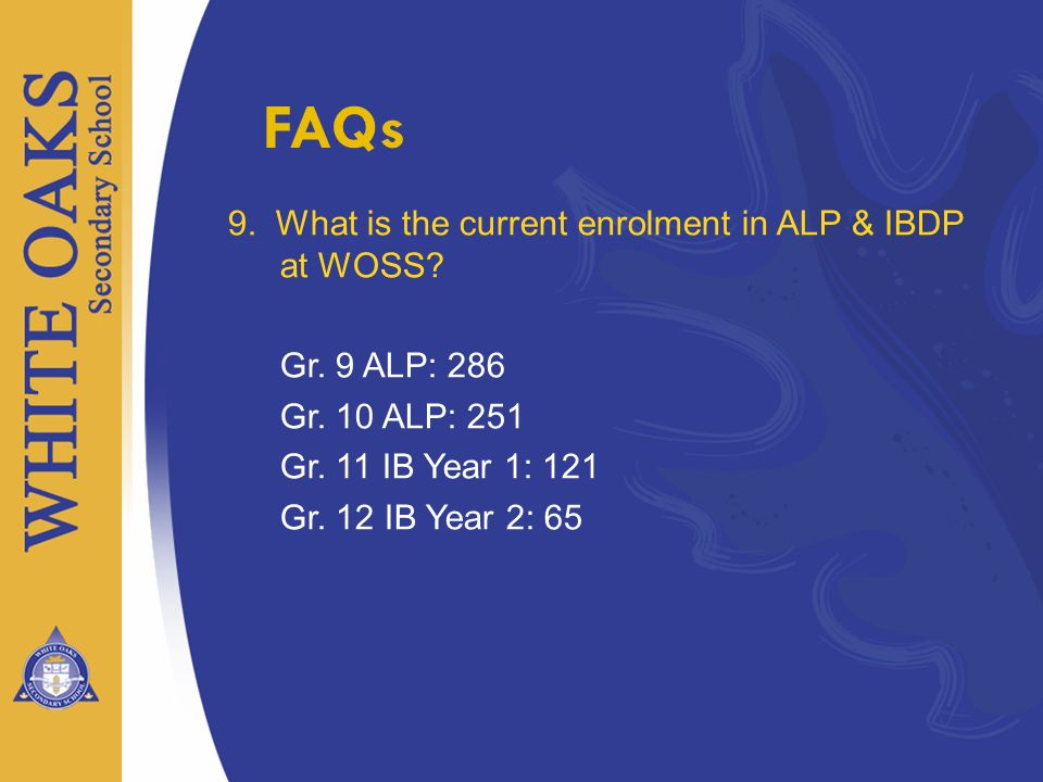 FAQs 9. What is the current enrolment in ALP & IBDP at WOSS