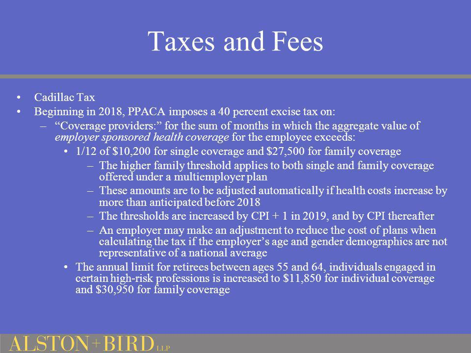 Taxes and Fees Cadillac Tax