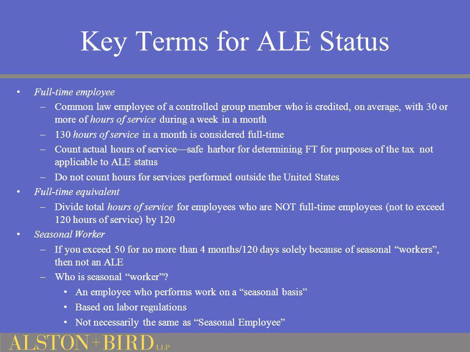 Key Terms for ALE Status