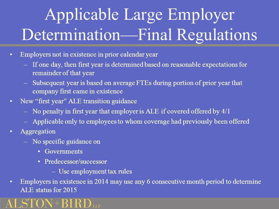 Applicable Large Employer Determination—Final Regulations