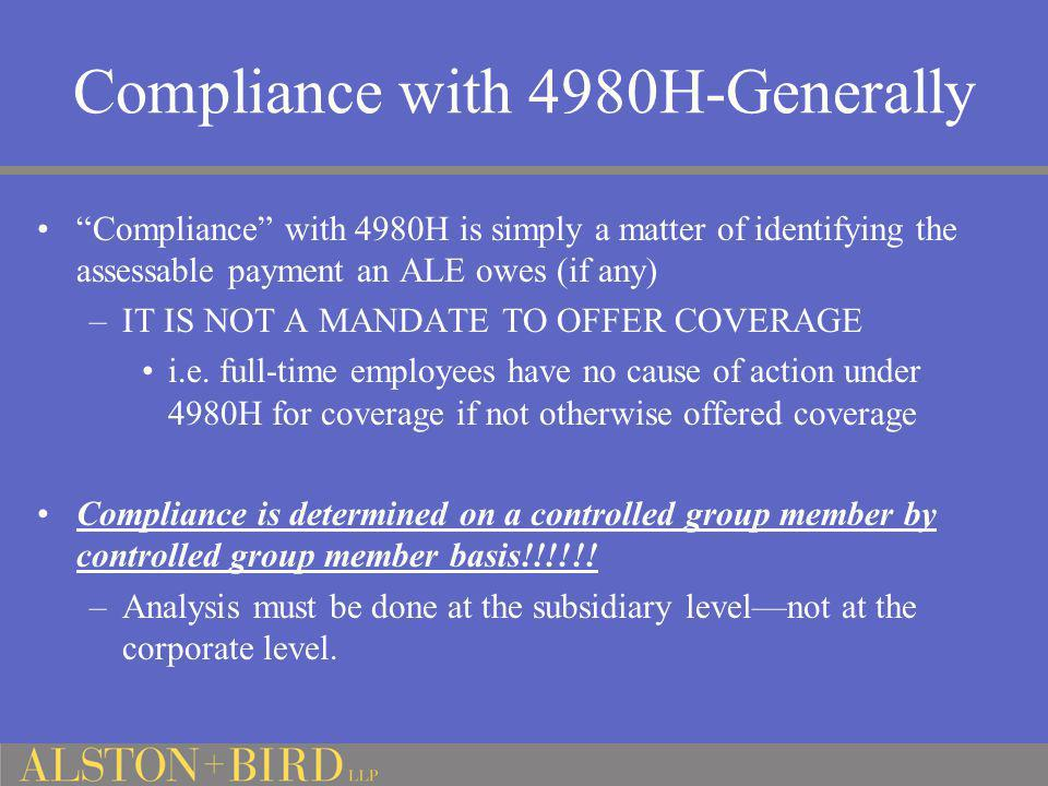 Compliance with 4980H-Generally