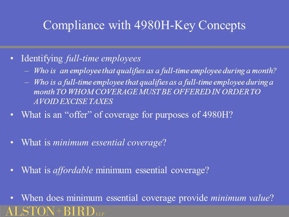 Compliance with 4980H-Key Concepts