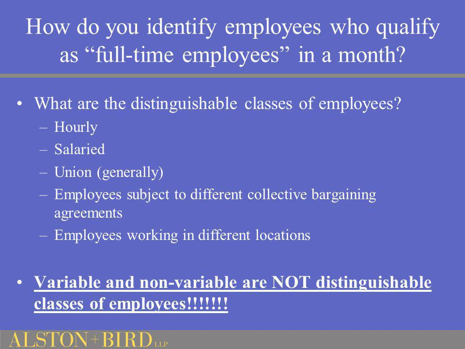How do you identify employees who qualify as full-time employees in a month