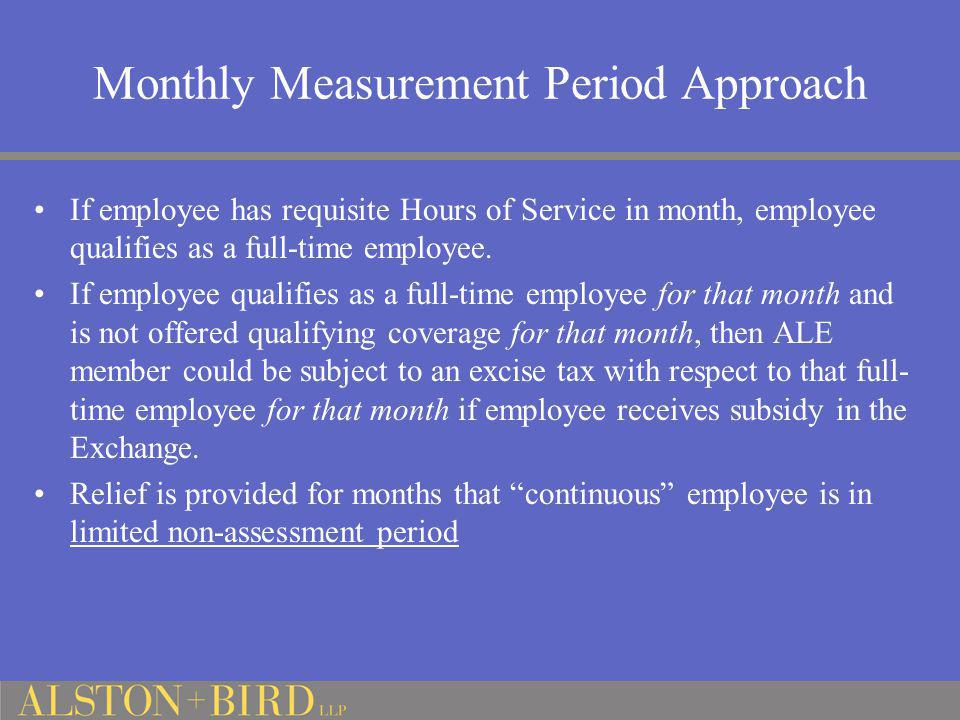 Monthly Measurement Period Approach