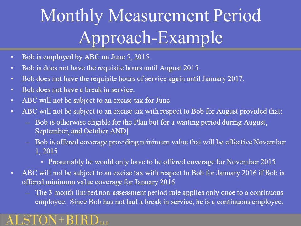 Monthly Measurement Period Approach-Example