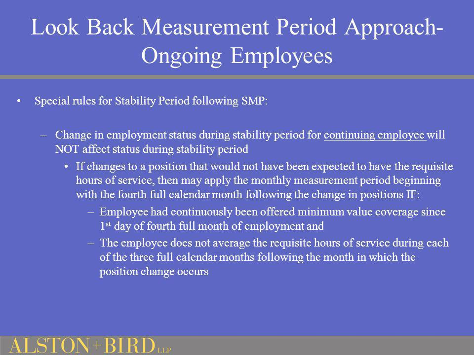 Look Back Measurement Period Approach-Ongoing Employees