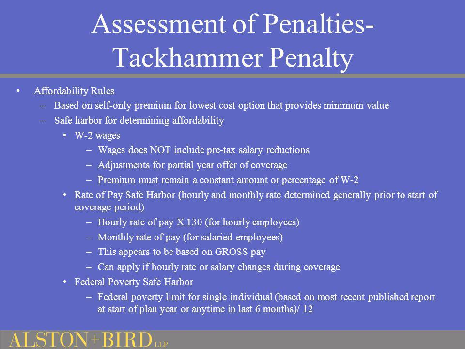 Assessment of Penalties-Tackhammer Penalty