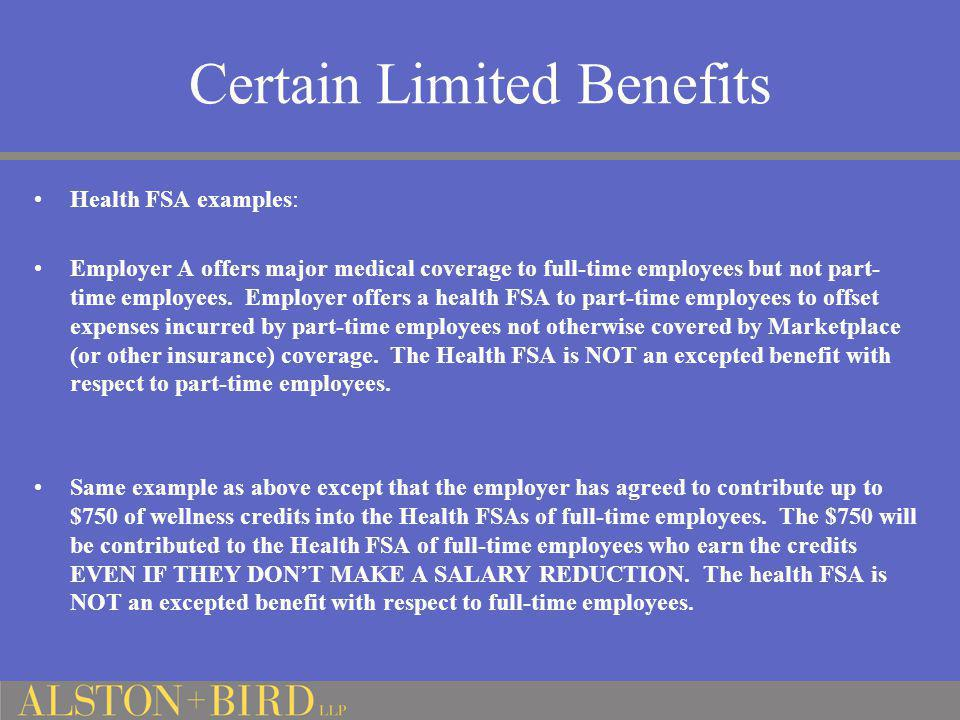 Certain Limited Benefits