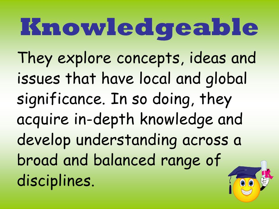Knowledgeable They explore concepts, ideas and