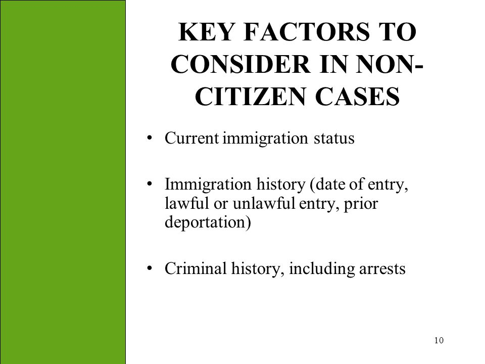 KEY FACTORS TO CONSIDER IN NON-CITIZEN CASES