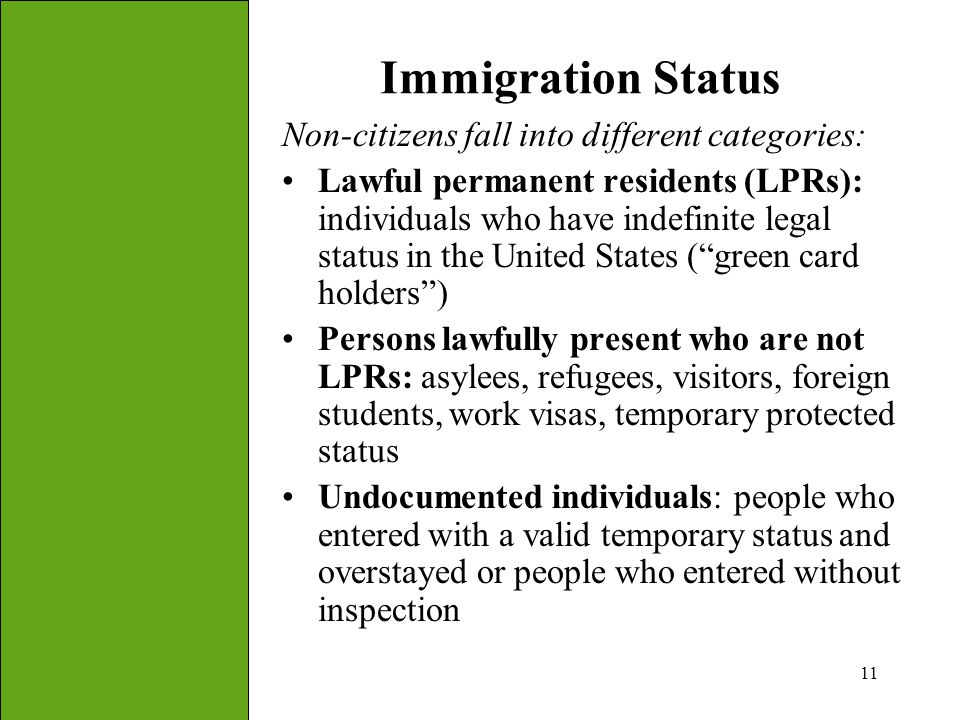 Immigration Status Non-citizens fall into different categories: