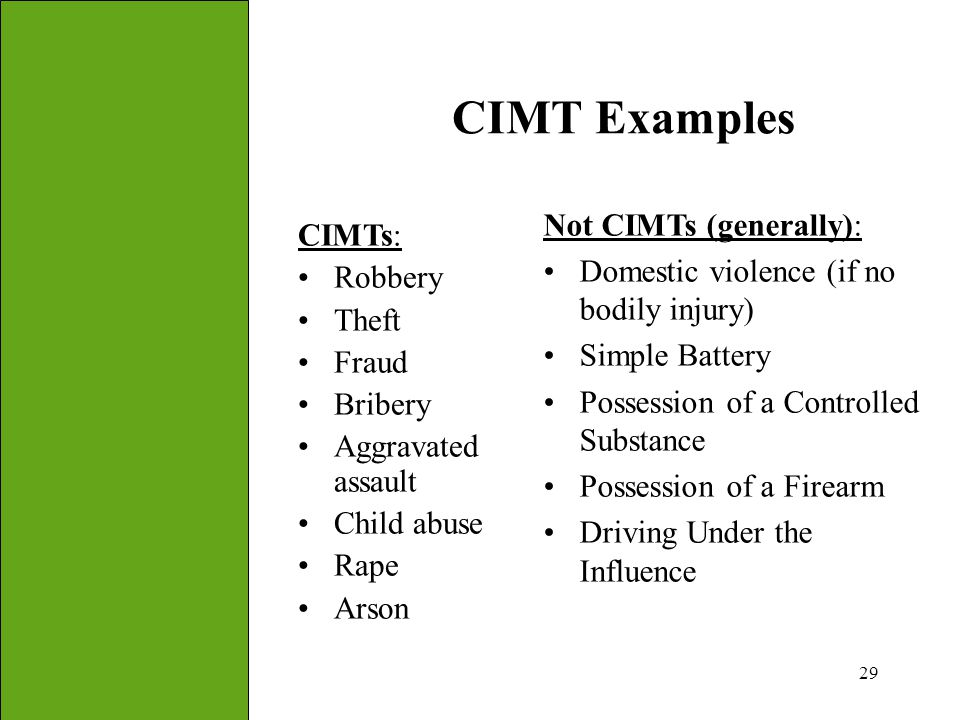 CIMT Examples Not CIMTs (generally): CIMTs: