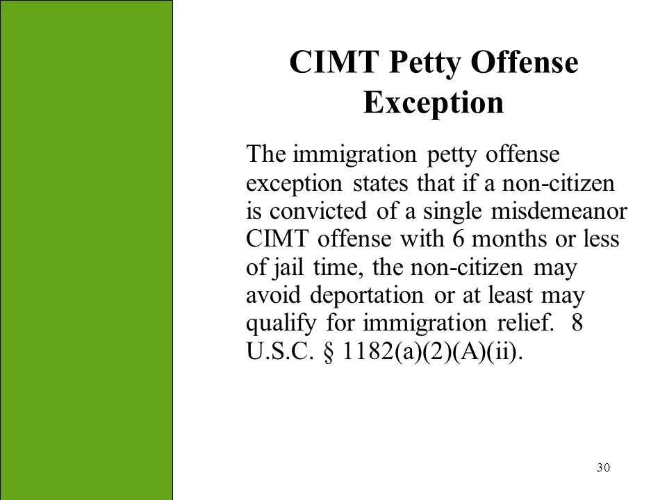 CIMT Petty Offense Exception